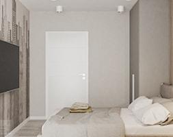 Mieszkanie w Krakowie - Mały szary beżowy pokój dziecka dla nastolatka, styl nowoczesny - zdjęcie od LINEUP STUDIO