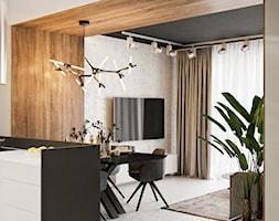 Akcenty na 40mkw - Średni salon z kuchnią z jadalnią z tarasem / balkonem, styl minimalistyczny - zdjęcie od LINEUP STUDIO