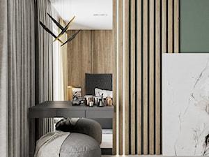 Minimal Green - Biała zielona sypialnia, styl minimalistyczny - zdjęcie od LINEUP STUDIO