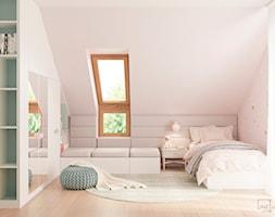 Dom jednorodzinny pod Krakowem - Średni szary różowy pokój dziecka dla dziewczynki dla nastolatka, ... - zdjęcie od LINEUP STUDIO - Homebook