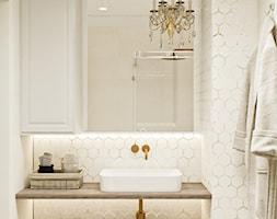 Neoklasyk Pod Krakowem - Mała szara łazienka w bloku w domu jednorodzinnym bez okna, styl glamour - zdjęcie od LINEUP STUDIO
