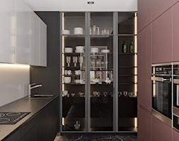 Projekt mieszkania na Warszawskim Mokotowie - Średnia zamknięta szara czarna kuchnia w kształcie litery l, styl minimalistyczny - zdjęcie od LINEUP STUDIO - Homebook