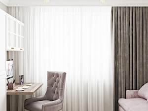Neoklasyk Pod Krakowem - Średnie szare biuro domowe kącik do pracy w pokoju, styl glamour - zdjęcie od LINEUP STUDIO
