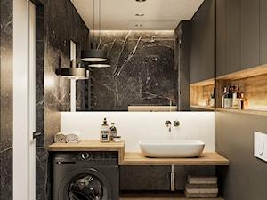 Akcenty na 40mkw - Mała szara łazienka w bloku w domu jednorodzinnym bez okna, styl nowoczesny - zdjęcie od LINEUP STUDIO