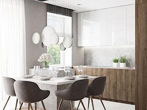 Apartament Nad Wisłą - Średnia otwarta szara kuchnia w kształcie litery u z oknem, styl nowoczesny - zdjęcie od LINEUP STUDIO