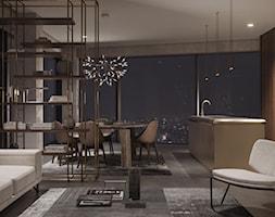 Apartament C90 - Średnia otwarta szara kuchnia jednorzędowa w aneksie z wyspą z oknem, styl włoski - zdjęcie od Studio Salve