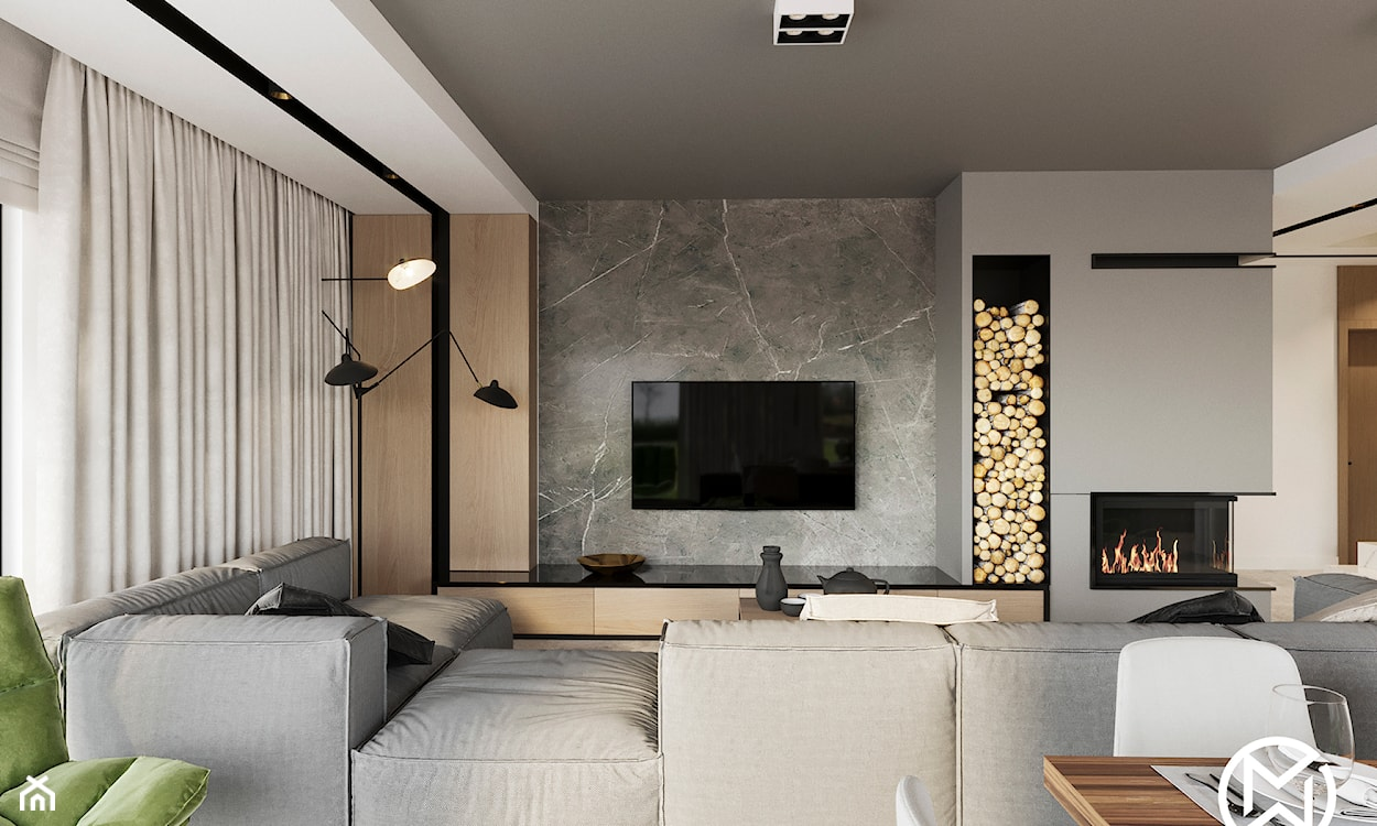 jak oświetlić ścianę z kamienia za telewizorem