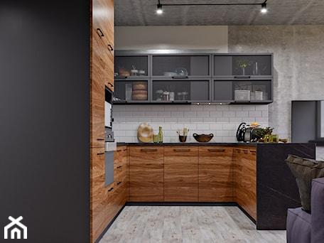 Aranżacje wnętrz - Kuchnia: Ukraina / Kijów- 2-pokojowe mieszkanie w stylu industrialnym - Średnia otwarta szara kuchnia w kszt ... - ABD Projects. Przeglądaj, dodawaj i zapisuj najlepsze zdjęcia, pomysły i inspiracje designerskie. W bazie mamy już prawie milion fotografii!