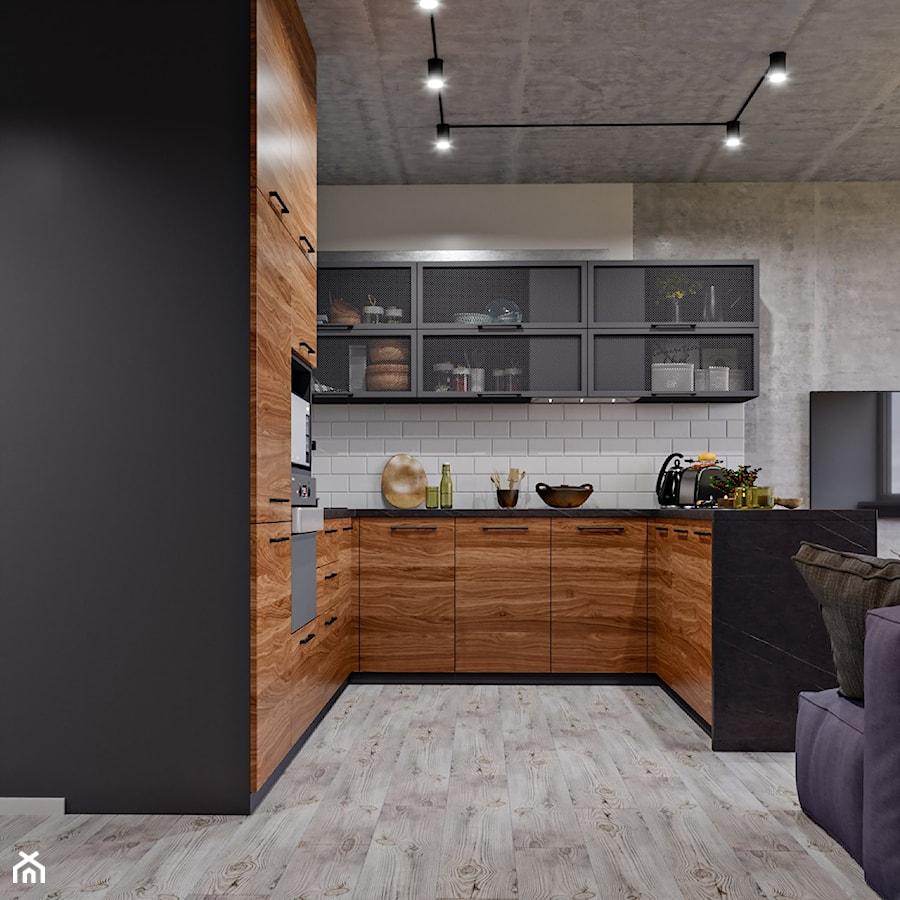 Ukraina / Kijów- 2-pokojowe mieszkanie w stylu industrialnym - Średnia otwarta szara kuchnia w kszt ... - zdjęcie od ABD Projects