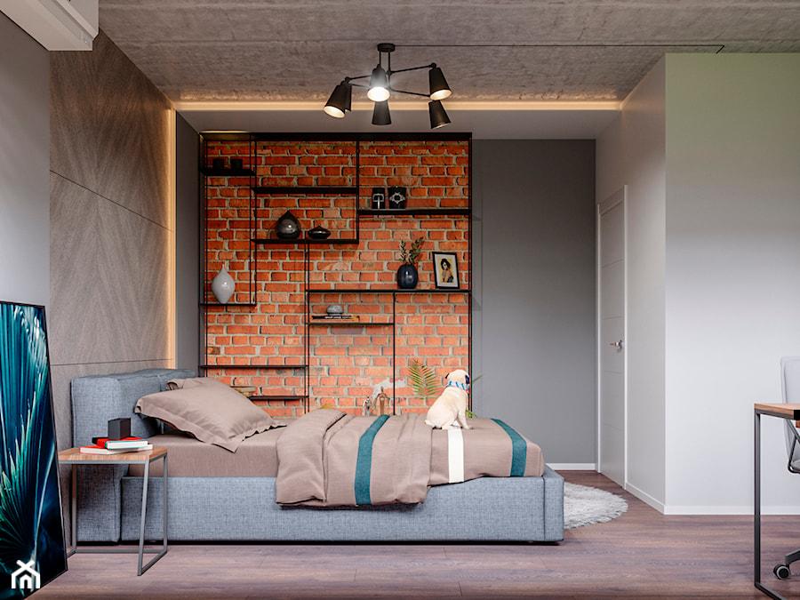 Ukraina / Kijów- 2-pokojowe mieszkanie w stylu industrialnym - Średnia szara sypialnia małżeńska, ... - zdjęcie od ABD Projects