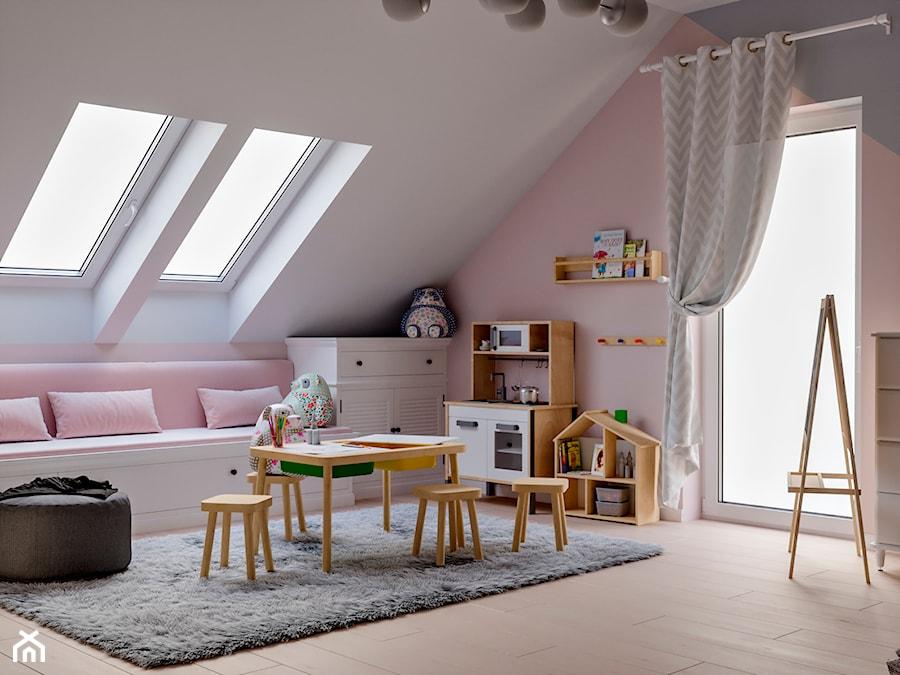 Okolice Elbląga - projekt części domu jednorodzinnego - Duży biały szary różowy pokój dziecka dla dz ... - zdjęcie od ABD Projects
