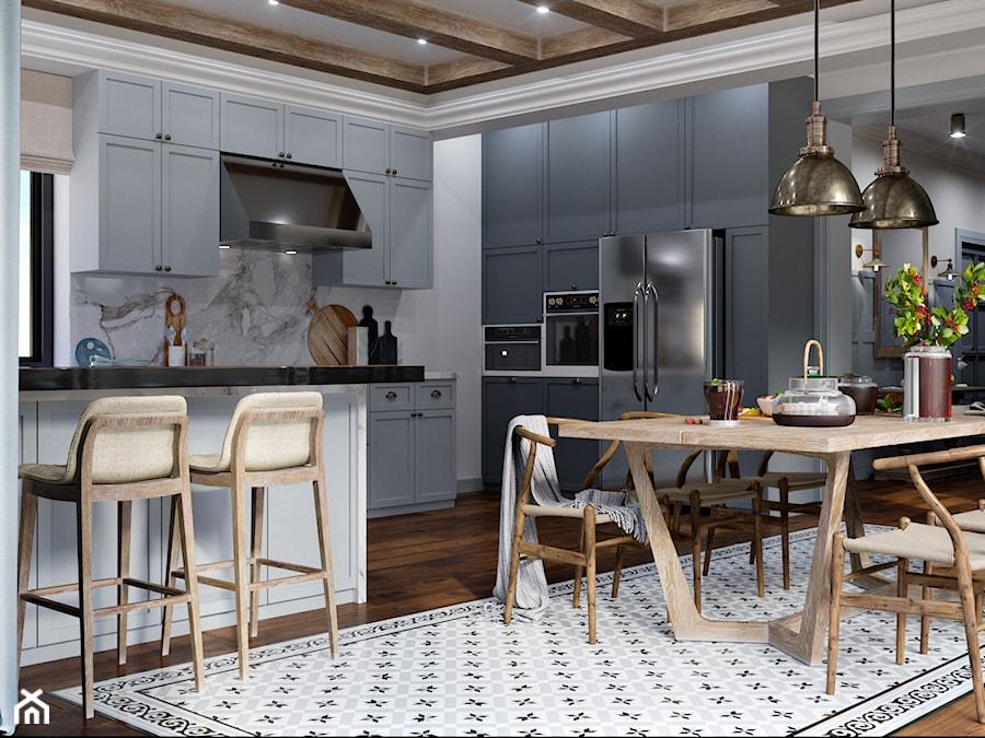 Okolice Elbląga - projekt części domu jednorodzinnego - Duża otwarta biała szara kuchnia w kształcie litery l z oknem, styl eklektyczny - zdjęcie od ABD Projects