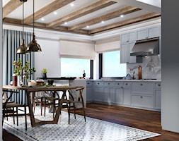 Okolice Elbląga - projekt części domu jednorodzinnego - Duża otwarta szara kuchnia w kształcie liter ... - zdjęcie od ABD Projects - Homebook