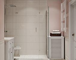 Elbląg - projekt mieszkania w stylu klasycznym - Średnia różowa łazienka w bloku w domu jednorodzinnym bez okna, styl klasyczny - zdjęcie od ABD Projects