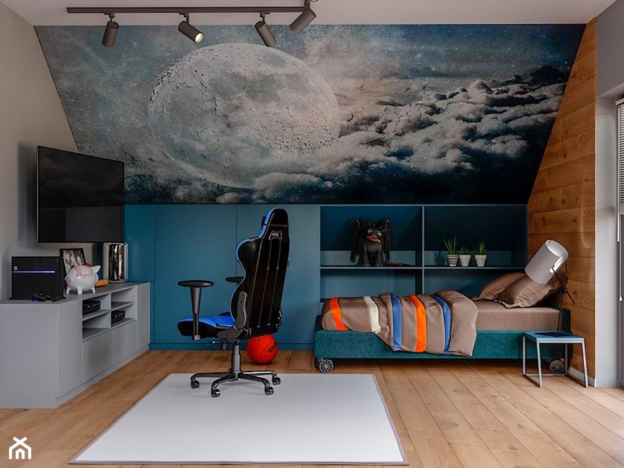 Okolice Elbląga - projekt części domu jednorodzinnego - Duży szary pokój dziecka dla chłopca dla ucz ... - zdjęcie od ABD Projects