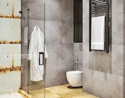 Ukraina / Kijów - projekt 2-poziomowego loftu - Mała szara łazienka w bloku w domu jednorodzinnym be ... - zdjęcie od ABD Projects - Homebook