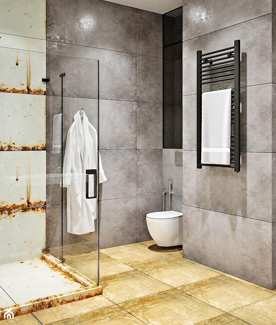 Ukraina / Kijów - projekt 2-poziomowego loftu - Mała szara łazienka w bloku w domu jednorodzinnym bez okna, styl industrialny - zdjęcie od ABD Projects
