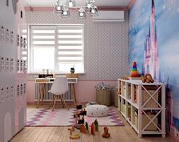 Ukraina / Biała Cerkiew - 2-poziomowe mieszkanie w stylu minimalistycznym - Średni różowy pokój dziecka dla dziewczynki dla ucznia dla malucha, styl tradycyjny - zdjęcie od ABD Projects