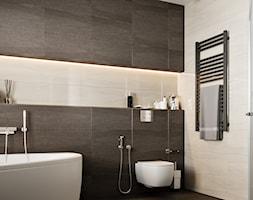 Ukraina / Biała Cerkiew - 2-poziomowe mieszkanie w stylu minimalistycznym - Mała czarna szara łazienka w bloku w domu jednorodzinnym bez okna, styl minimalistyczny - zdjęcie od ABD Projects - Homebook