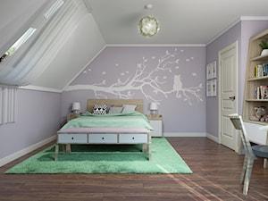 Sztum - projekt domu jednorodzinnego w stylu klasycznym - Średni biały fioletowy pokój dziecka dla dziewczynki dla ucznia dla nastolatka, styl eklektyczny - zdjęcie od ABD Projects