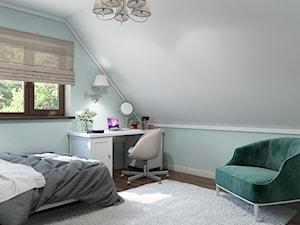 Sztum - projekt domu jednorodzinnego w stylu klasycznym - Średni biały szary miętowy pokój dziecka dla dziewczynki dla ucznia dla nastolatka, styl klasyczny - zdjęcie od ABD Projects