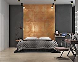 Ukraina / Kijów - projekt 2-poziomowego loftu - Średnia biała czarna sypialnia małżeńska, styl indu ... - zdjęcie od ABD Projects - Homebook
