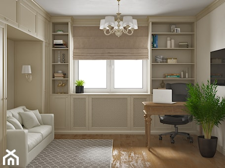 Aranżacje wnętrz - Biuro: Elbląg - projekt mieszkania w stylu klasycznym - Średnie beżowe białe biuro domowe w pokoju, styl k ... - ABD Projects. Przeglądaj, dodawaj i zapisuj najlepsze zdjęcia, pomysły i inspiracje designerskie. W bazie mamy już prawie milion fotografii!