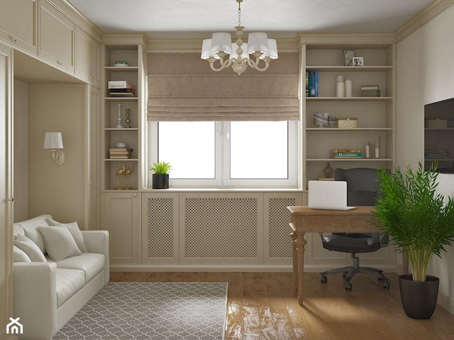 Elbląg - projekt mieszkania w stylu klasycznym - Średnie beżowe białe biuro domowe w pokoju, styl k ... - zdjęcie od ABD Projects