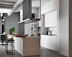 Ukraina / Kijów - projekt 2-poziomowego loftu - Średnia otwarta szara kuchnia dwurzędowa, styl indu ... - zdjęcie od ABD Projects - Homebook