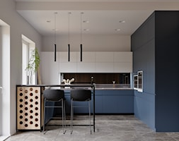 Ukraina / Biała Cerkiew - 2-poziomowe mieszkanie w stylu minimalistycznym - Średnia otwarta szara kuchnia w kształcie litery g w aneksie z oknem, styl minimalistyczny - zdjęcie od ABD Projects