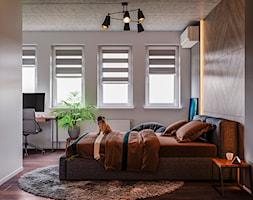 Ukraina / Kijów- 2-pokojowe mieszkanie w stylu industrialnym - Średnia szara sypialnia małżeńska, ... - zdjęcie od ABD Projects - Homebook
