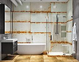 Ukraina / Kijów - projekt 2-poziomowego loftu - Średnia szara łazienka w bloku w domu jednorodzinnym ... - zdjęcie od ABD Projects - Homebook