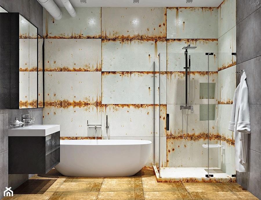 Ukraina / Kijów - projekt 2-poziomowego loftu - Średnia szara łazienka w bloku w domu jednorodzinnym bez okna, styl industrialny - zdjęcie od ABD Projects