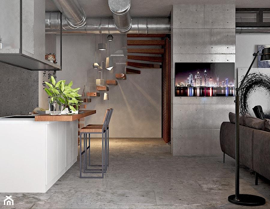 Ukraina / Kijów - projekt 2-poziomowego loftu - Średnia otwarta szara kuchnia jednorzędowa w aneksie, styl industrialny - zdjęcie od ABD Projects