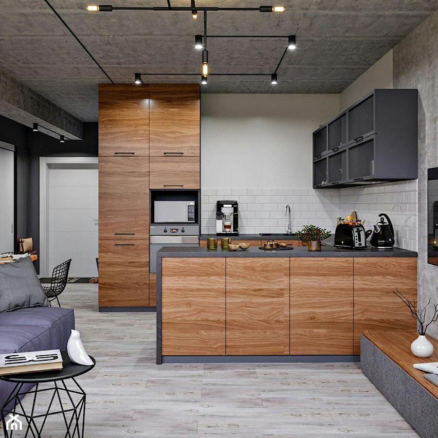 Ukraina / Kijów- 2-pokojowe mieszkanie w stylu industrialnym - Średnia otwarta biała szara kuchnia ... - zdjęcie od ABD Projects