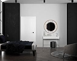 Ukraina / Kijów - projekt 2-poziomowego loftu - Średnia biała czarna sypialnia małżeńska, styl nowo ... - zdjęcie od ABD Projects - Homebook
