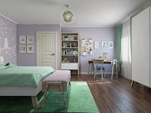 Sztum - projekt domu jednorodzinnego w stylu klasycznym - Duży fioletowy pokój dziecka dla dziewczynki dla ucznia dla nastolatka, styl eklektyczny - zdjęcie od ABD Projects