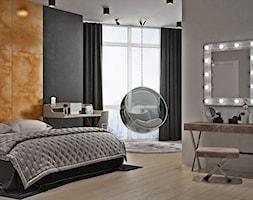Ukraina / Kijów - projekt 2-poziomowego loftu - Duża beżowa szara sypialnia małżeńska, styl industr ... - zdjęcie od ABD Projects - Homebook