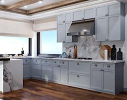 Okolice Elbląga - projekt części domu jednorodzinnego - Średnia otwarta biała szara kuchnia w kształ ... - zdjęcie od ABD Projects - Homebook