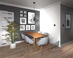 Nowoczesny salon z industrialną ceglana ścianą - zdjęcie od MalgoWy Projektuje, arch. Małgorzata Wyrzykowska