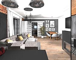 Nowoczesny salon z industrialną ceglaną ścianą - zdjęcie od MalgoWy Projektuje, arch. Małgorzata Wyrzykowska
