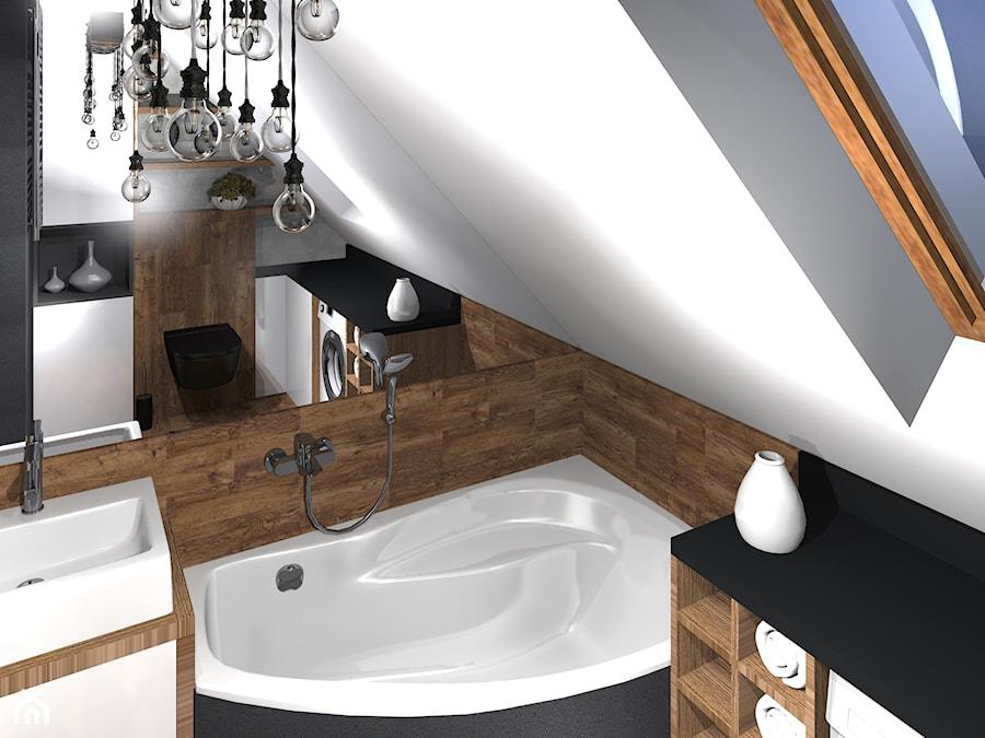 Drewniana łazienka Z Rustykalną Lampą Zdjęcie Od Malgowy