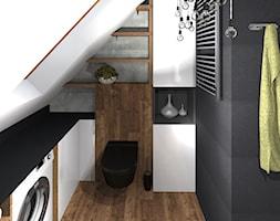 Drewniana łazienka z rustykalną lampą - zdjęcie od MalgoWy Projektuje, arch. Małgorzata Wyrzykowska