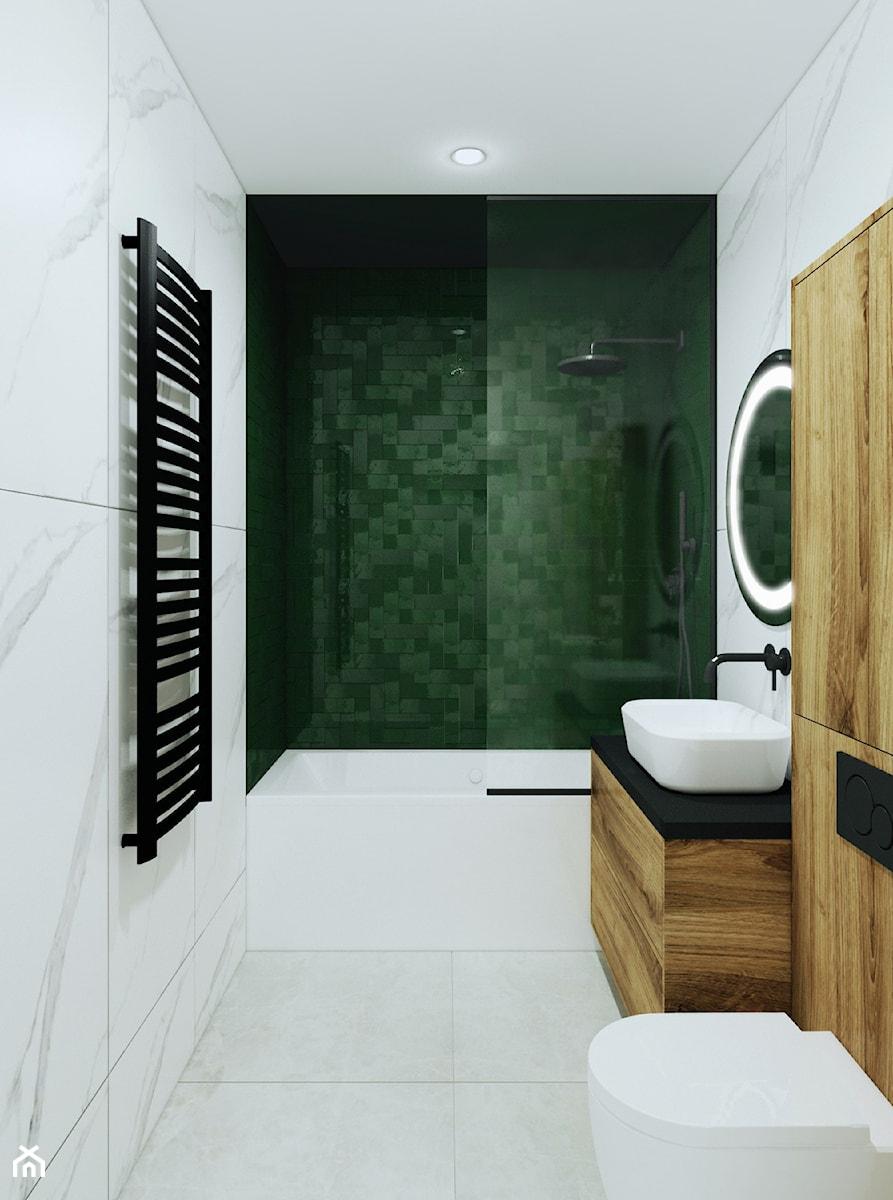 Łazienka z akcentem zieleni w Katowicach - zdjęcie od Pracownia Projektowa HybriDesign Adelina Czerbak