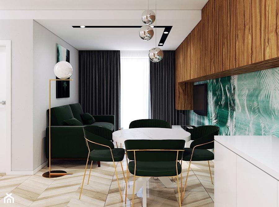 Ultra nowoczesny salon z zielonym akcentem - zdjęcie od Pracownia Projektowa HybriDesign Adelina Czerbak