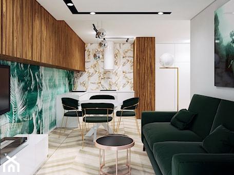 Aranżacje wnętrz - Kuchnia: Ultra nowoczesny salon z zielonym akcentem - Pracownia Projektowa HybriDesign Adelina Czerbak . Przeglądaj, dodawaj i zapisuj najlepsze zdjęcia, pomysły i inspiracje designerskie. W bazie mamy już prawie milion fotografii!