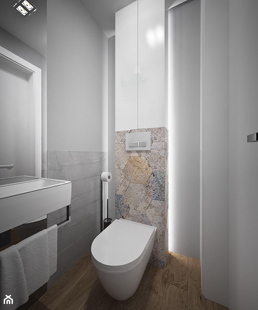 Mieszkanie w Dąbrowie Górniczej dla przyszłych rodziców - Łazienka, styl nowoczesny - zdjęcie od Pracownia Projektowa HybriDesign Adelina Czerbak