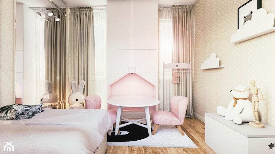 DOM PRYWATNY - Mały biały pastelowy różowy pokój dziecka dla dziewczynki dla malucha - zdjęcie od START DESIGN