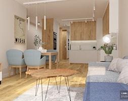 Z niebieskim akcentem - Mały szary salon z kuchnią z jadalnią, styl nowoczesny - zdjęcie od MOOKA Studio - Homebook