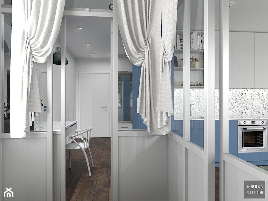 Śródmieście Port - Średnia otwarta biała szara kuchnia jednorzędowa, styl skandynawski - zdjęcie od MOOKA Studio